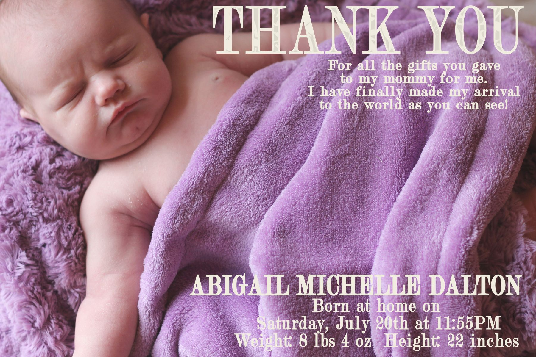 Baby Announcement Thank You Card For Abigail – Birth Announcements and Thank You Cards