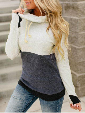 Cowl Neck Colorblock Sweatshirt from dresslily