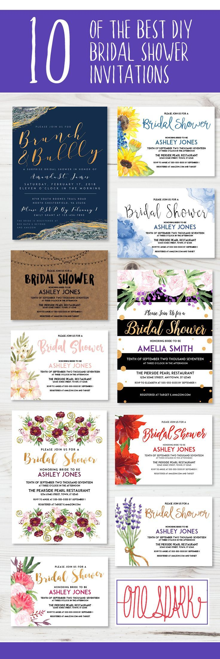 Ten of the best diy wedding shower invitations. These custom wedding ...