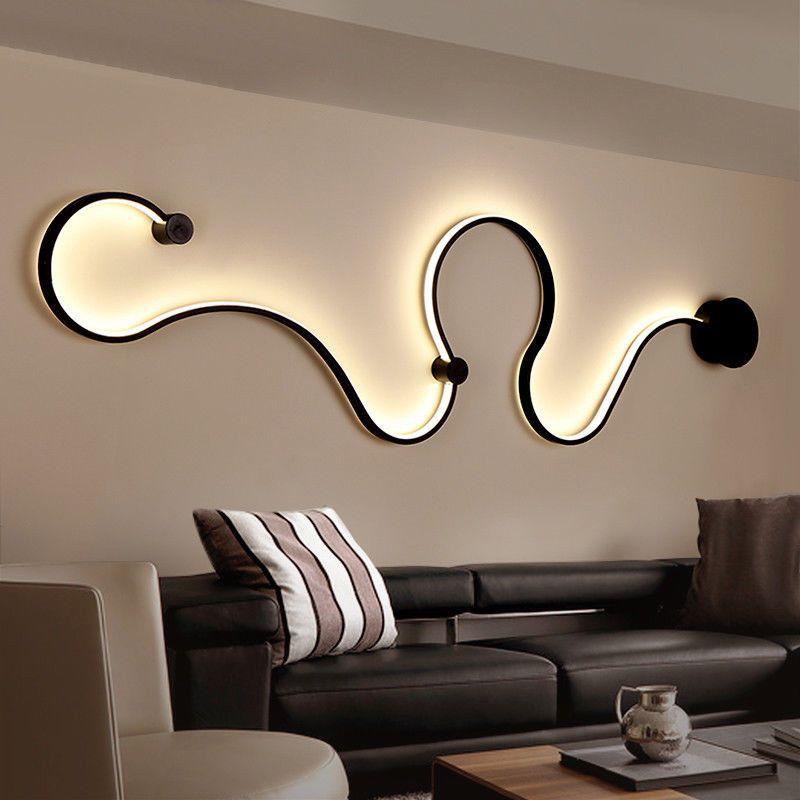 Creative Acrylic Curve Light Snake Led Lamp Nordic Led Belt Wall Sconce Fordecor Creativelight Ledl Wall Lamp Design Modern Wall Lamp Design Modern Wall Lamp