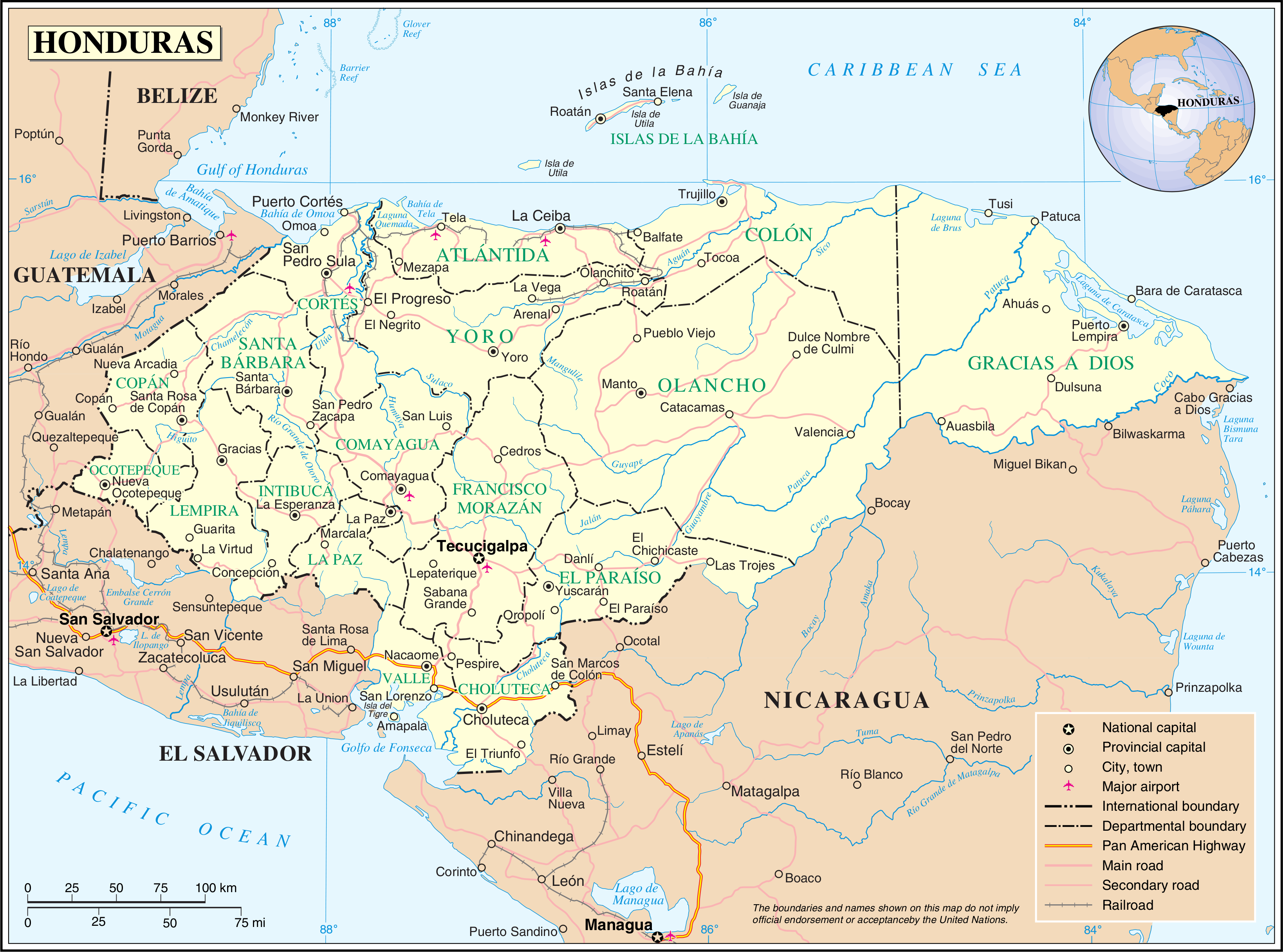 Honduras Map This would be great.   Lets go!   Map, World political ...