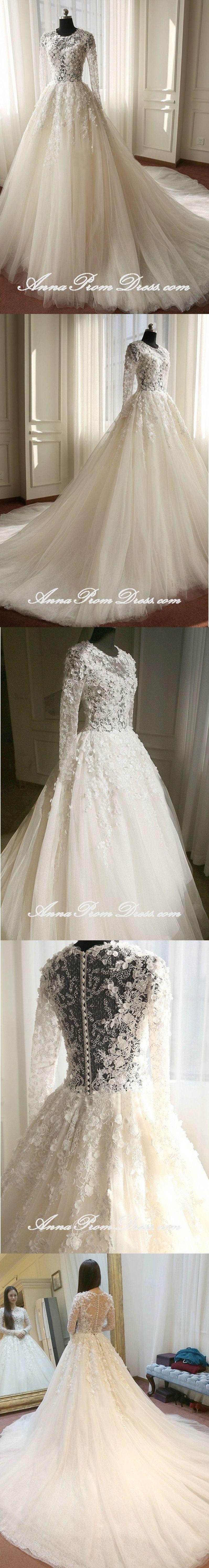 Rent designer wedding dress  Lace Wedding Dresses Scoop Aline Brush Train Long Sleeve Luxury
