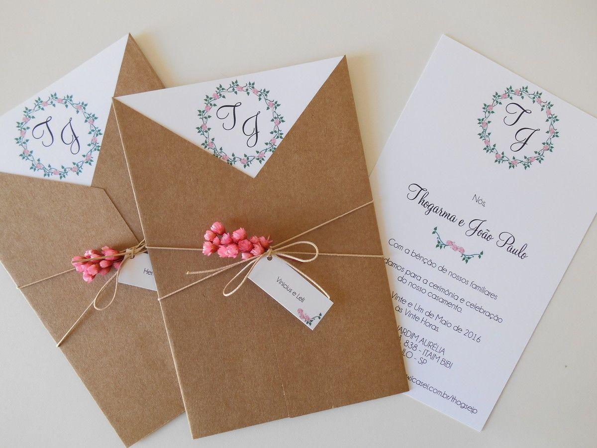 Convite Rústico Envelope V - II - Tamanho 14 x 20,5 cm ...