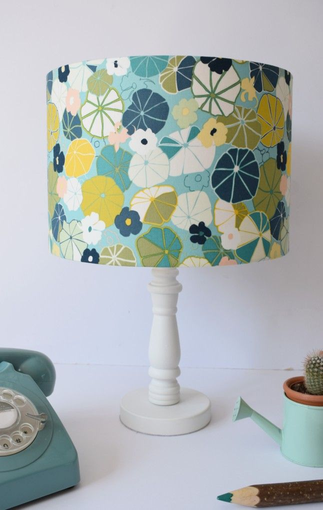 Abstract Floral Lampshade Teal Flowers Fabric Lamp Shade