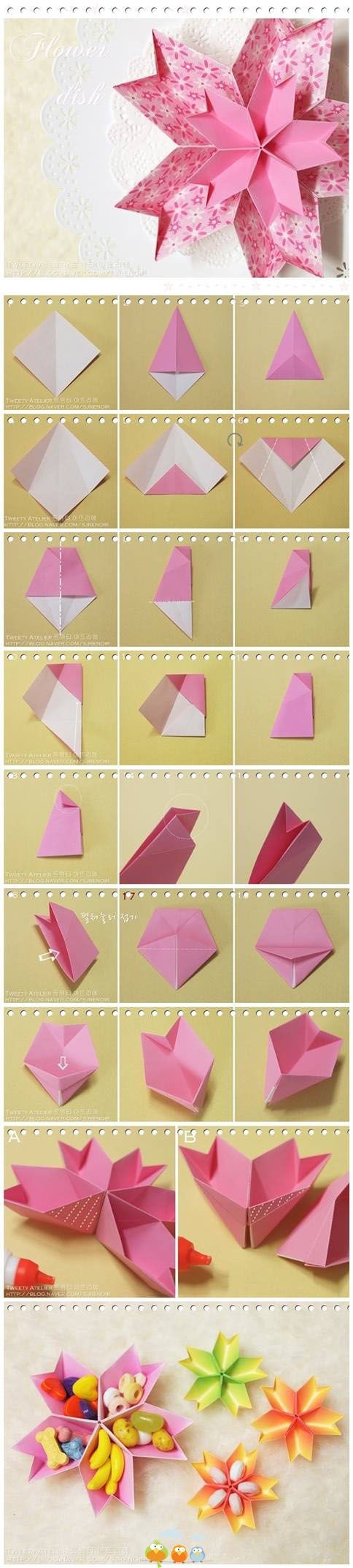 Diy Origami Paper Flower Dish Origami Origami Diagrams And Star
