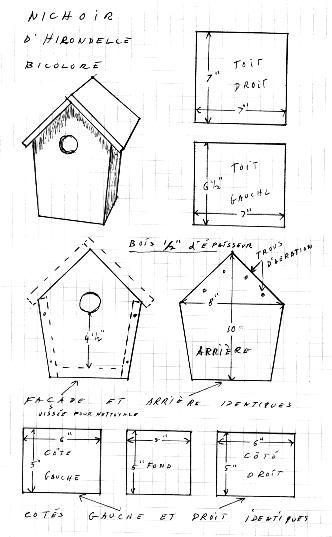 Plan nichoir d'hirondelle bicolore | Plan nichoir, Nichoir