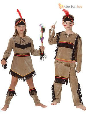 Kids Girls Native American Costume Red Indian Book Week Day Fancy Dress Outfit