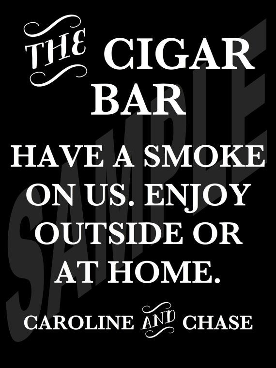 Wedding Bar Signs WS-240 Cigars Sign Wedding Cigar Bar Sign Wood Cigar Bar Sign