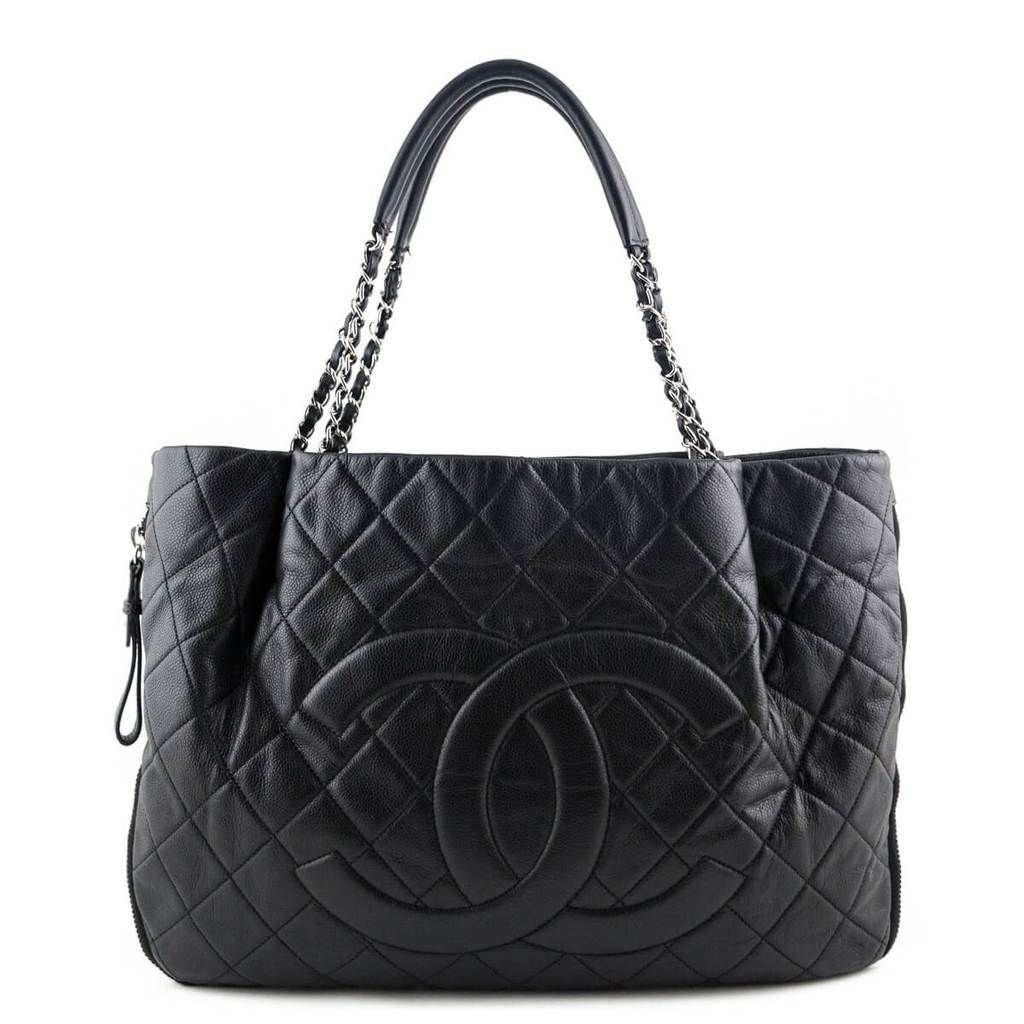 Chanel Black Caviar Zip Around Shopping Tote Chanel