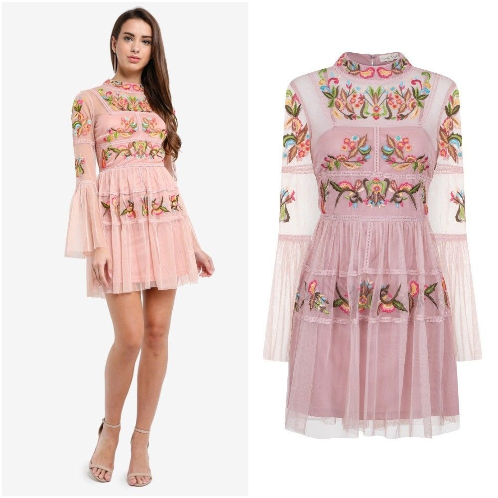 Details about frock and frill caralisa pink embroidered