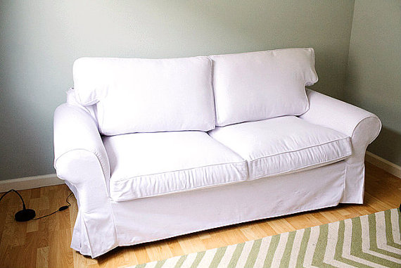 Attrayant Custom IKEA Ektorp 2 Seat Sofa Bed In Gaia White Par ComfortWorks