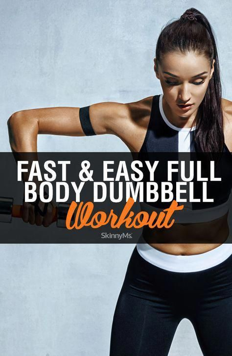 This fast and easy, do-anywhere, full body dumbbell workout is perfect for busy women that are looki...