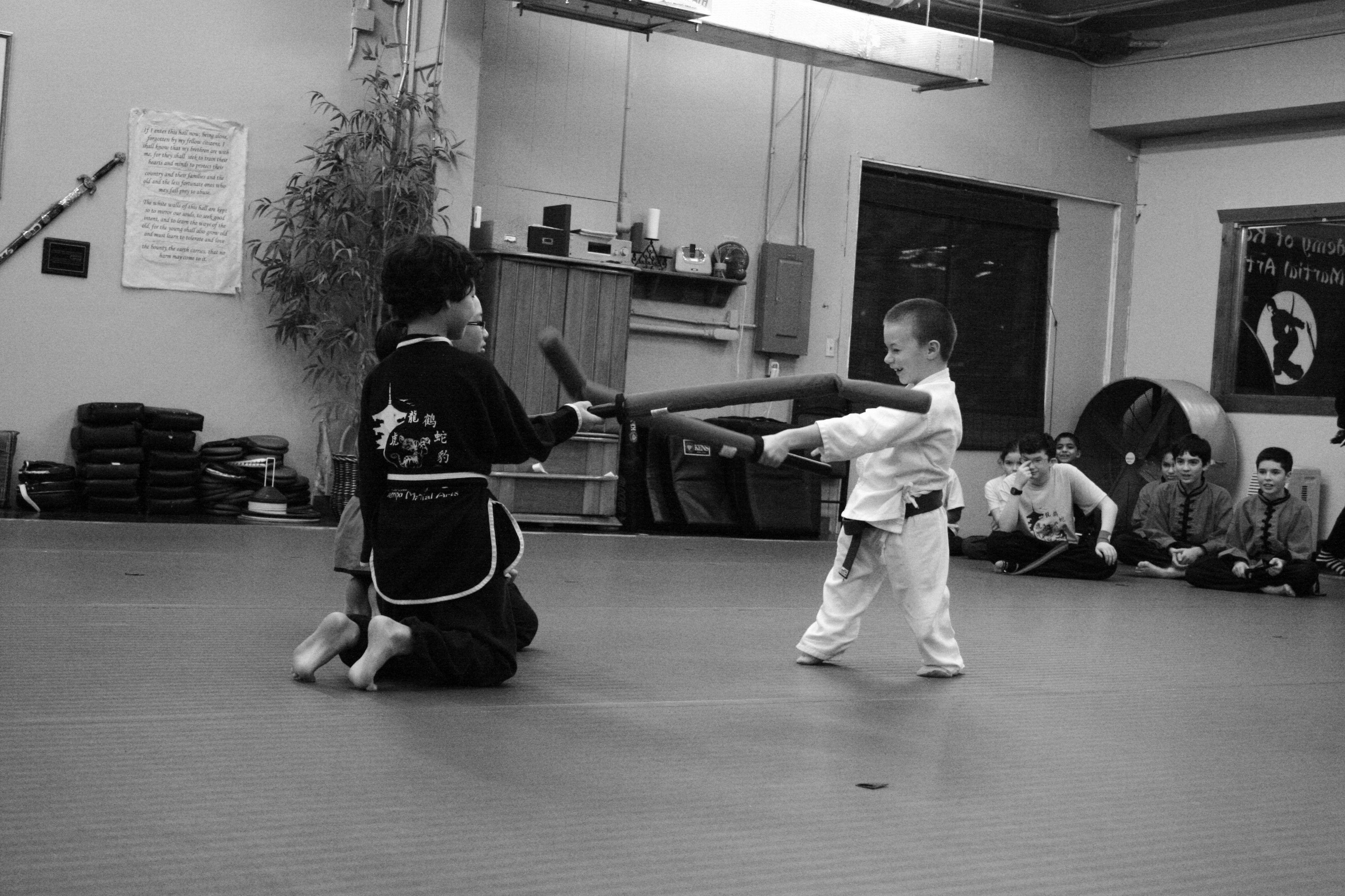 Kung fu kids having fun during class bellevue wa for