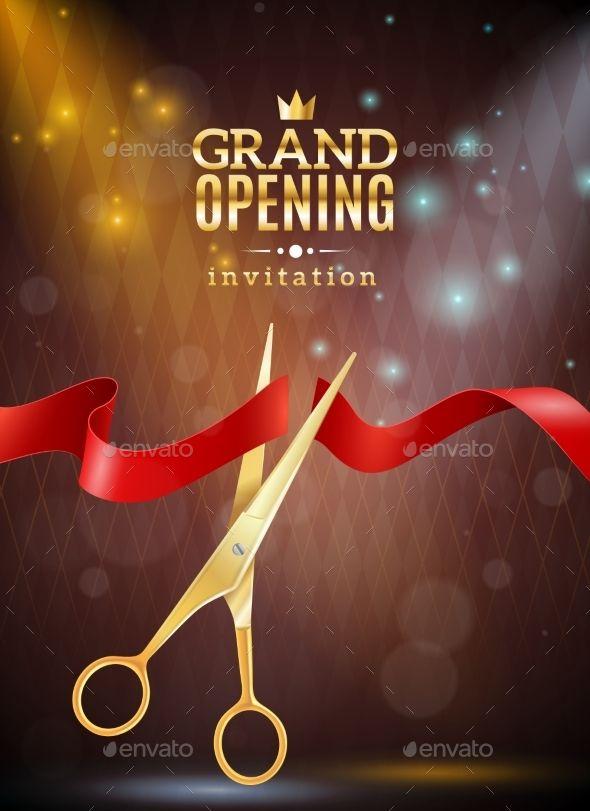 Grand opening background illustration grand opening invitation realistic background with ribbon and scissors vector illustration editable eps and render stopboris Image collections