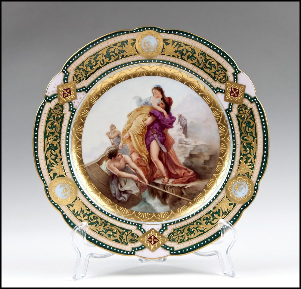 Rudolstadt hand painted cabinet plate royal vienna style for Vajillas porcelana clasicas