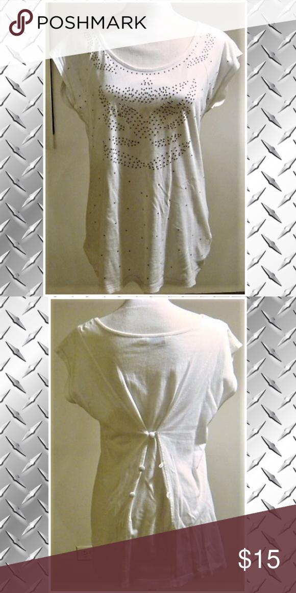 Vanilla Sands White Silver Beaded Short Sleeve Top Short Sleeves Tops White Silver Beaded