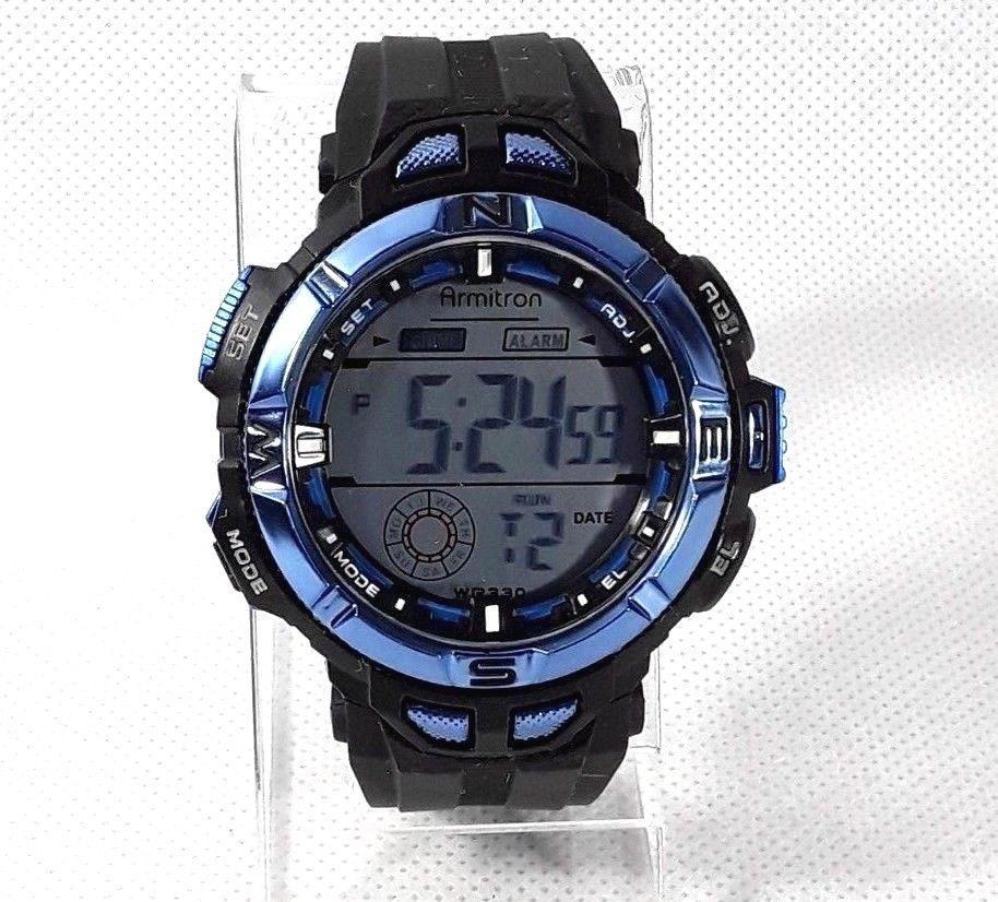 Armitron mens metallic blue black allsport watch model