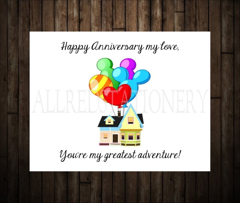 Disney Up Themed Wedding Annivesary Card Disney Anniversary Gift