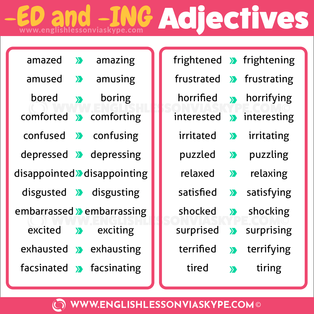 Adjectives Ed Or Ing Adjectives Emotions Elementary [ 1440 x 1018 Pixel ]