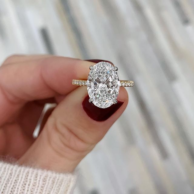Oval Engagement Ring with Pavé Band by Ring Concierge Oval Engagement Ring wit Oval Engagement Ring with Pavé Band by Ring Concierge Oval Engagement Ring wi...