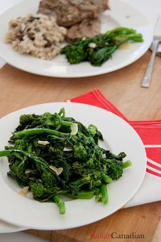 Italian sautéed rapini with garlic and olive oil. Quick side dish recipe.