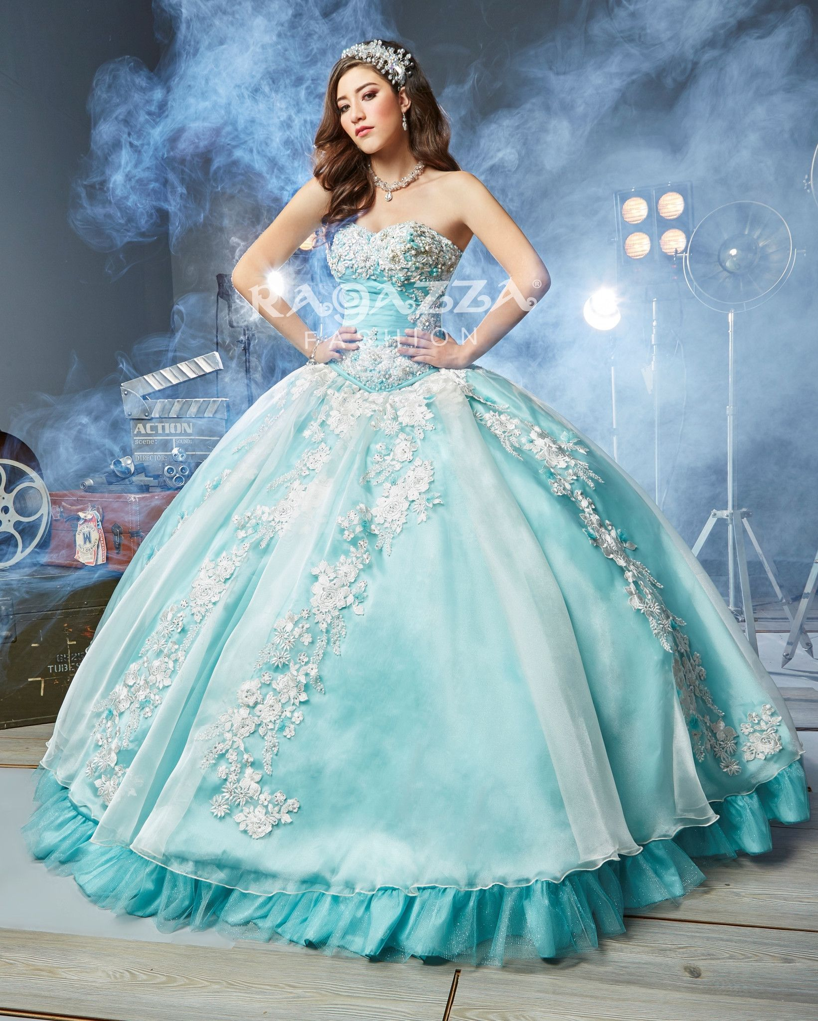 Appliqued A-Line Quinceanera Dress by Ragazza Fashion Style B63-363 ...