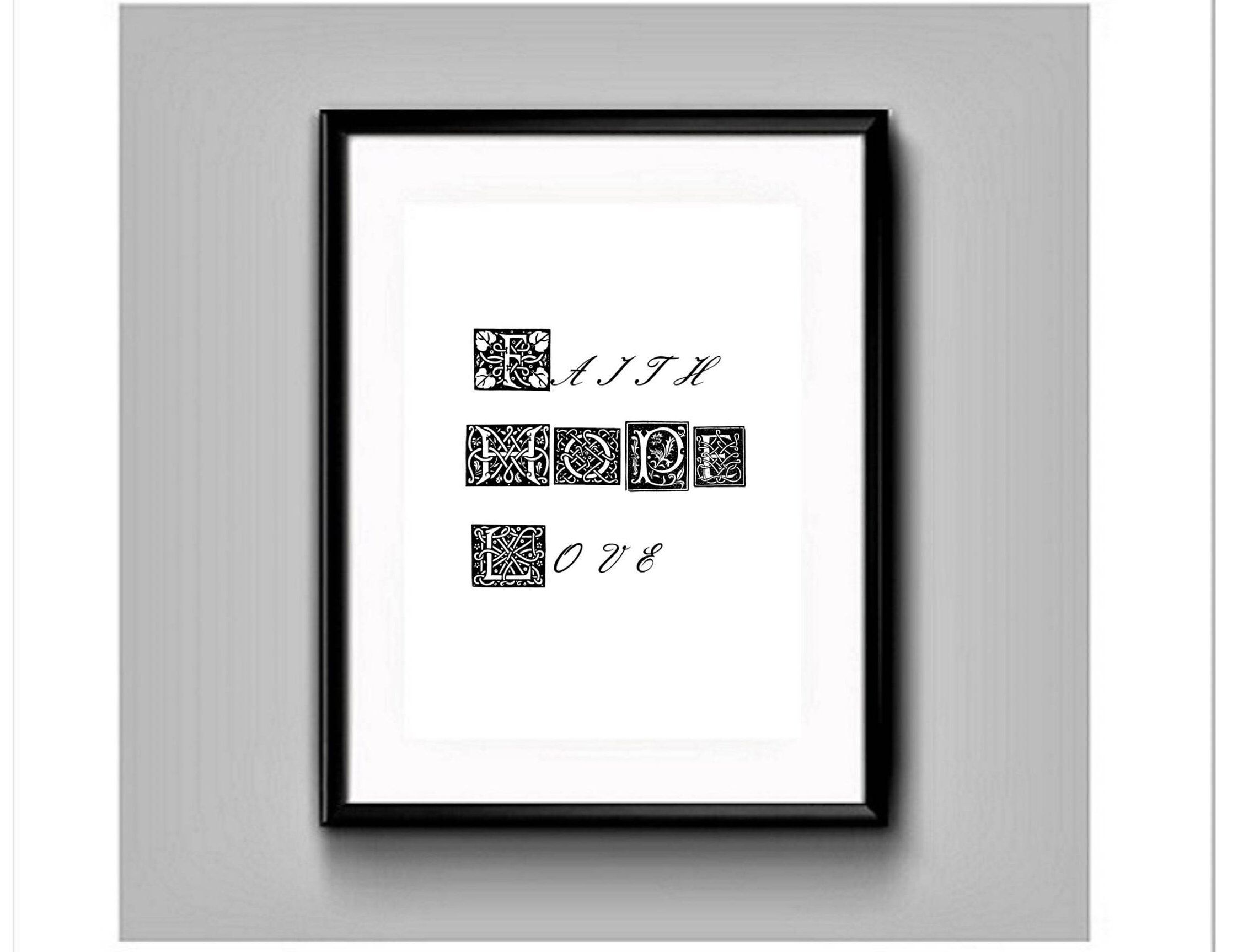 Faith Hope Love-Biblical quote print-Religious home decor-Printable ...
