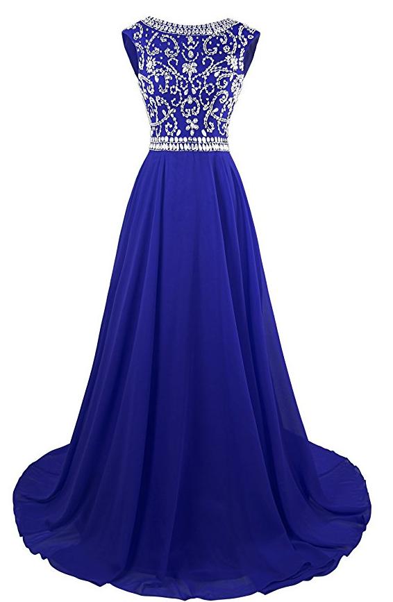 Long Prom Dresses Cap Sleeves Bridesmaid Wedding Guest | Royal blue ...