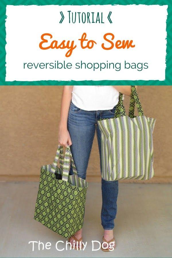 Sewing Tutorial: Reversible Shopping Bags | Kasse, Handarbeiten und ...
