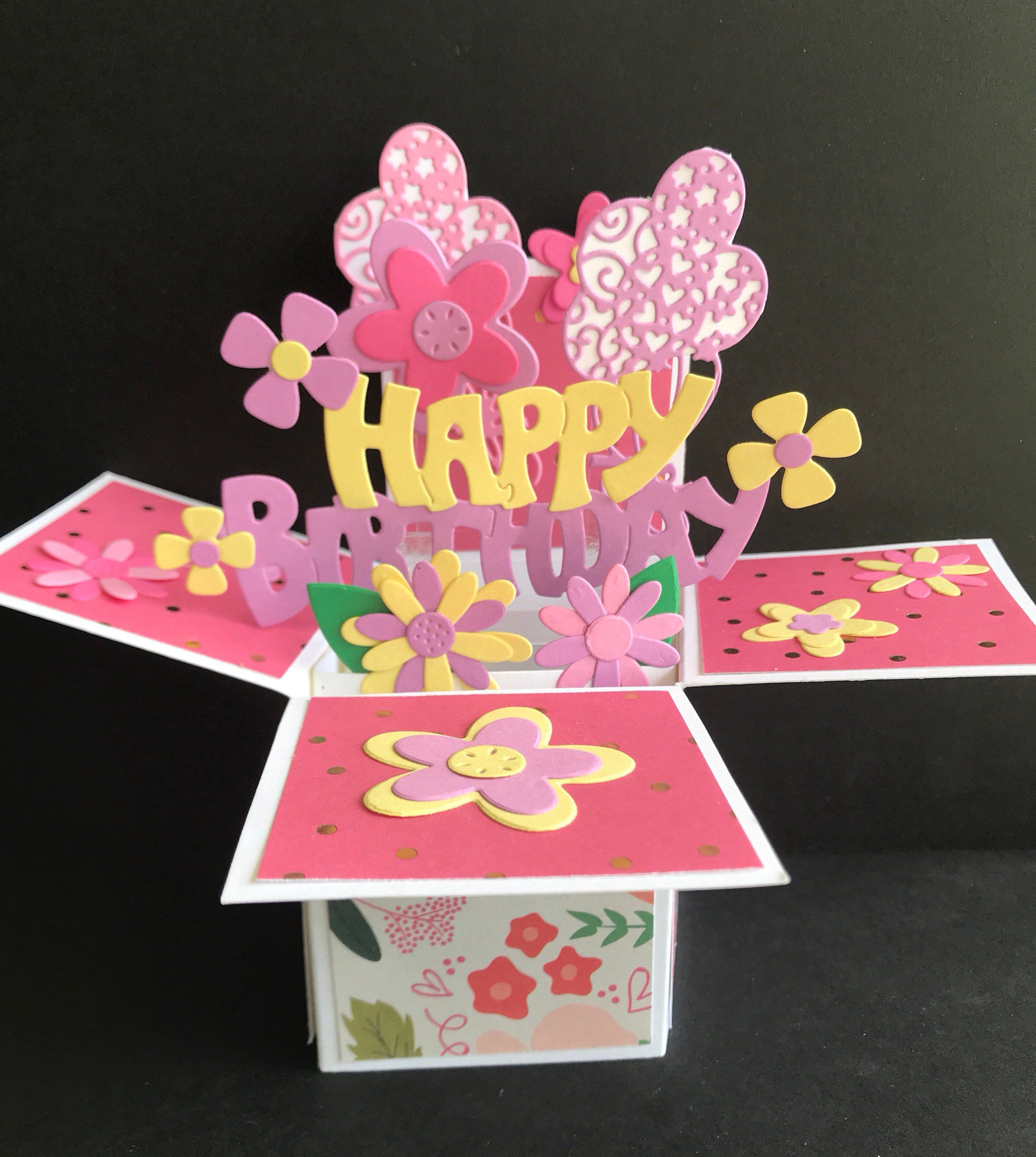 Birthday Pop Up Card Birthday Gift Card Holder Girl Birthday Etsy Flower Birthday Cards Pop Up Box Cards Birthday Gift Cards