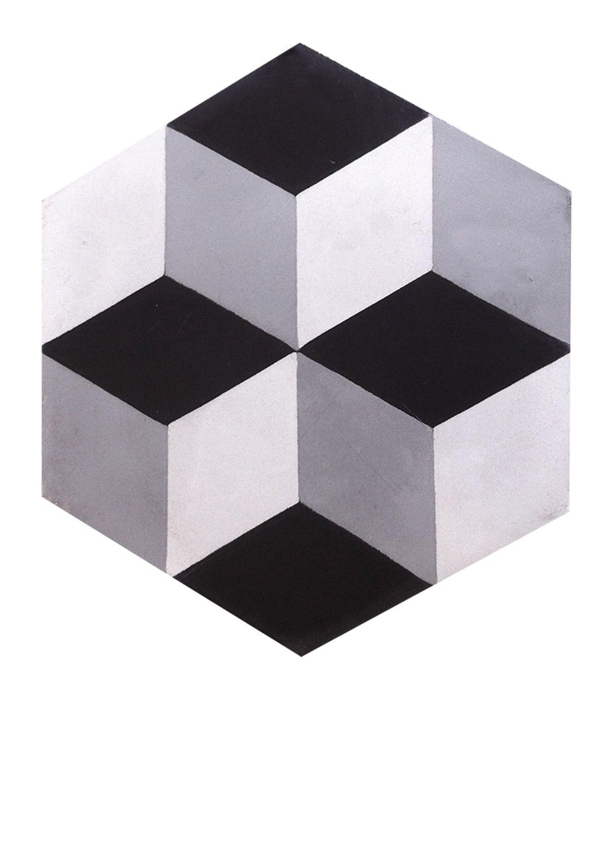 Hexagone Noir blanc gris carreaux ciment Carrelages du Marais