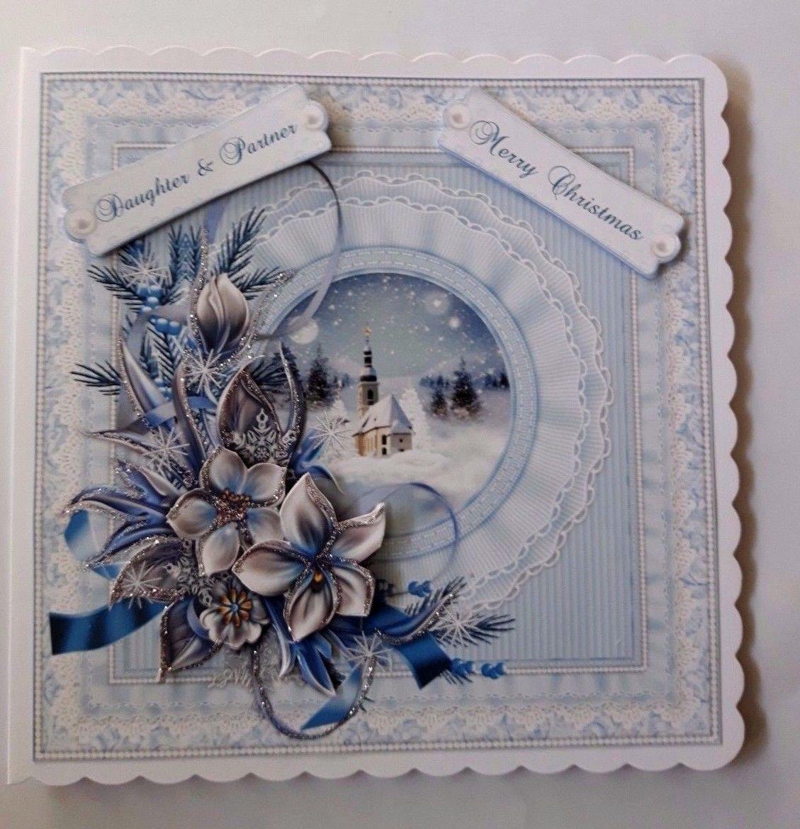 Handmade Christmas Card For Daughter Partner With 3d Winter Flowers Christmas Cards Handmade Christmas Cards
