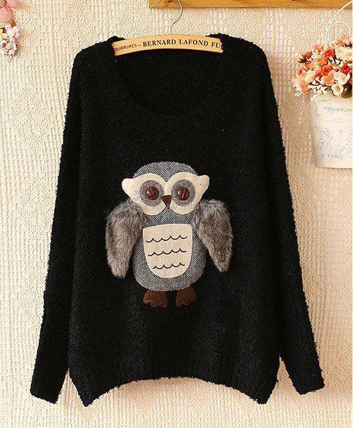 owl print on sweater