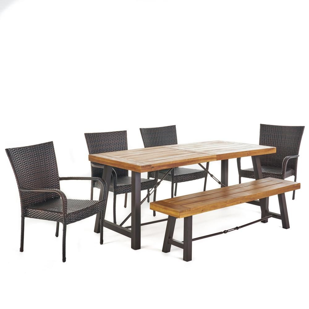 Noble House Eloise 6 Piece Wood Rectangular Outdoor Dining Set