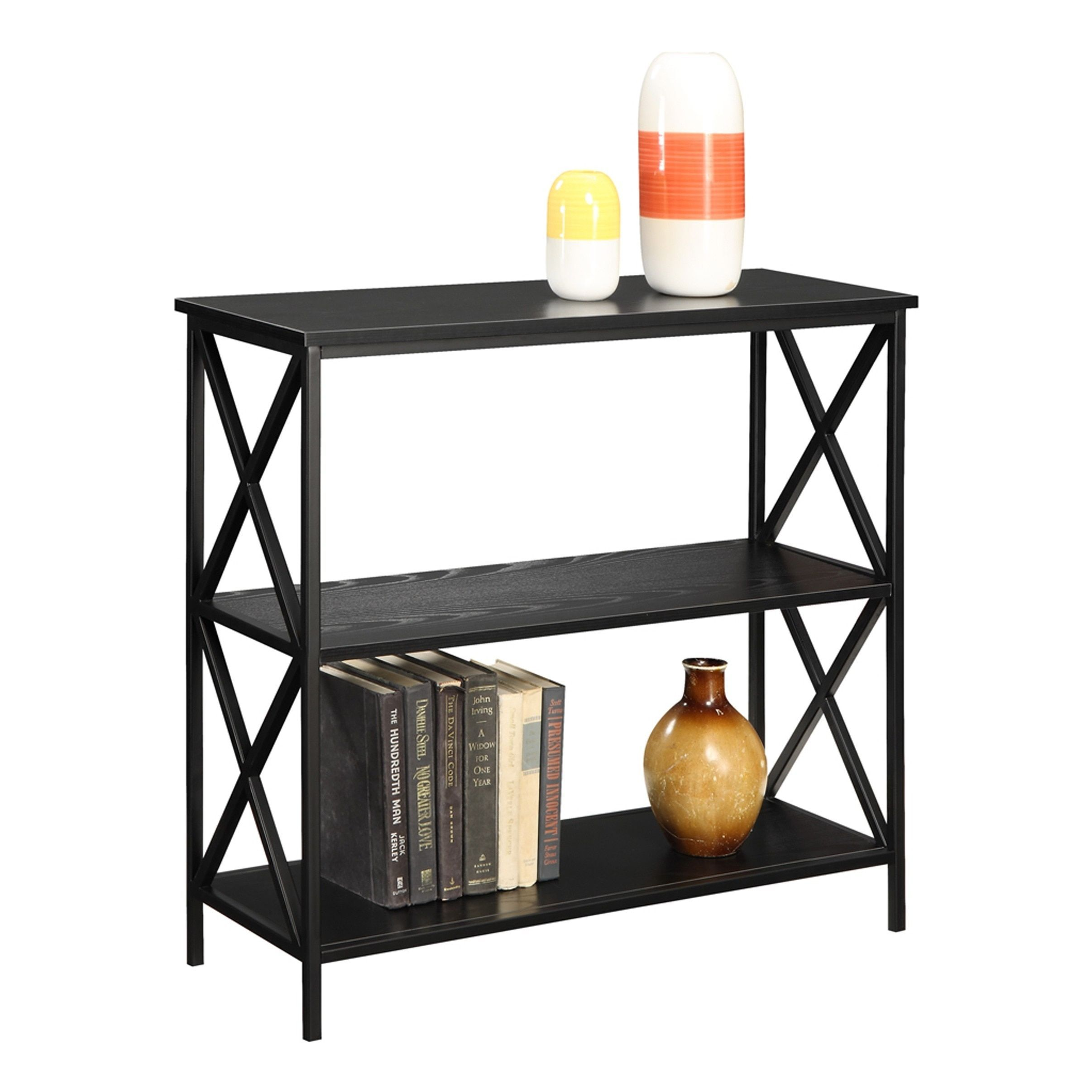 bookcases glass dining classic concepts convenience shelf amazon kitchen com black midnight dp tier bookcase