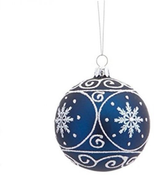 3 5 Matte Navy Blue Christmas Glass Ball Ornament With White Glitter Designs Melrose Christmas Blue White Blue Christmas Christmas Ornaments Christm