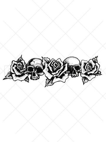 Wrap this rose and skull tattoo around a bicep to form an ...