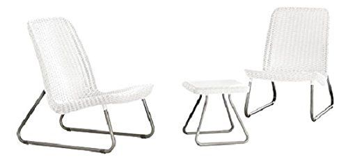 Keter 17197637 Lounge Set Rio Rattanoptik Kunststoff Weiß