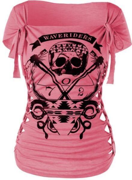 601465e54b93 Women Skull Print Braided Shredding T-shirt Casual Loose Cotton Summer  Short Topseavengifts
