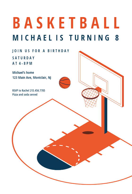 Modern Basketball Sports Games Invitation Template Free Greetings Island Basketball Birthday Invitations Free Party Invite Template Basketball Birthday Party Invitations