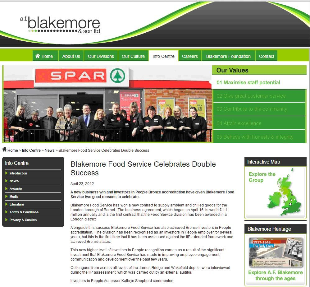 Blakemore Food Service Celebrates Bronze Investors In People