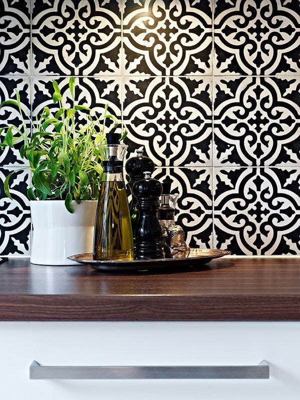 inspiring moroccan tile backsplash ideas black white tiles geometric ...