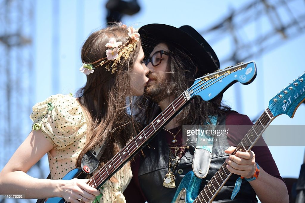 Bass player Charlotte Kemp Muhl and singer Sean Lennon of The Ghost of a Saber Tooth Tiger performs onstage at the 2015 Coachella Music Festival at The Empire Polo Club on April 17, 2015 in Indio, California.