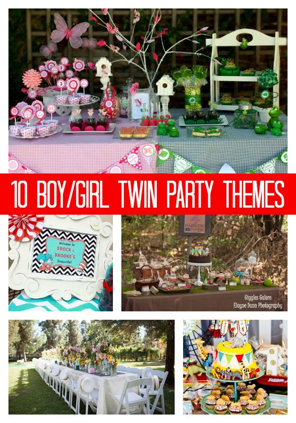 10 Party Ideas For Boy Girl Twins Pretty My Party 1st Birthday Party Themes Twin Birthday Themes Girls Party Themes