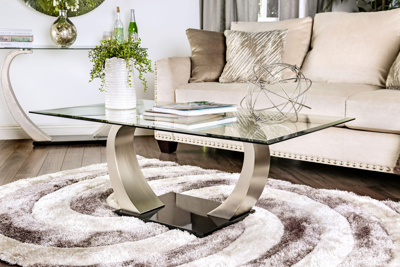 Furniture of America Satin Cara Modern Coffee Table, Silver ...