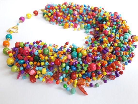 Multicolor luftig Perlenkette  bunte Samen Halskette mit