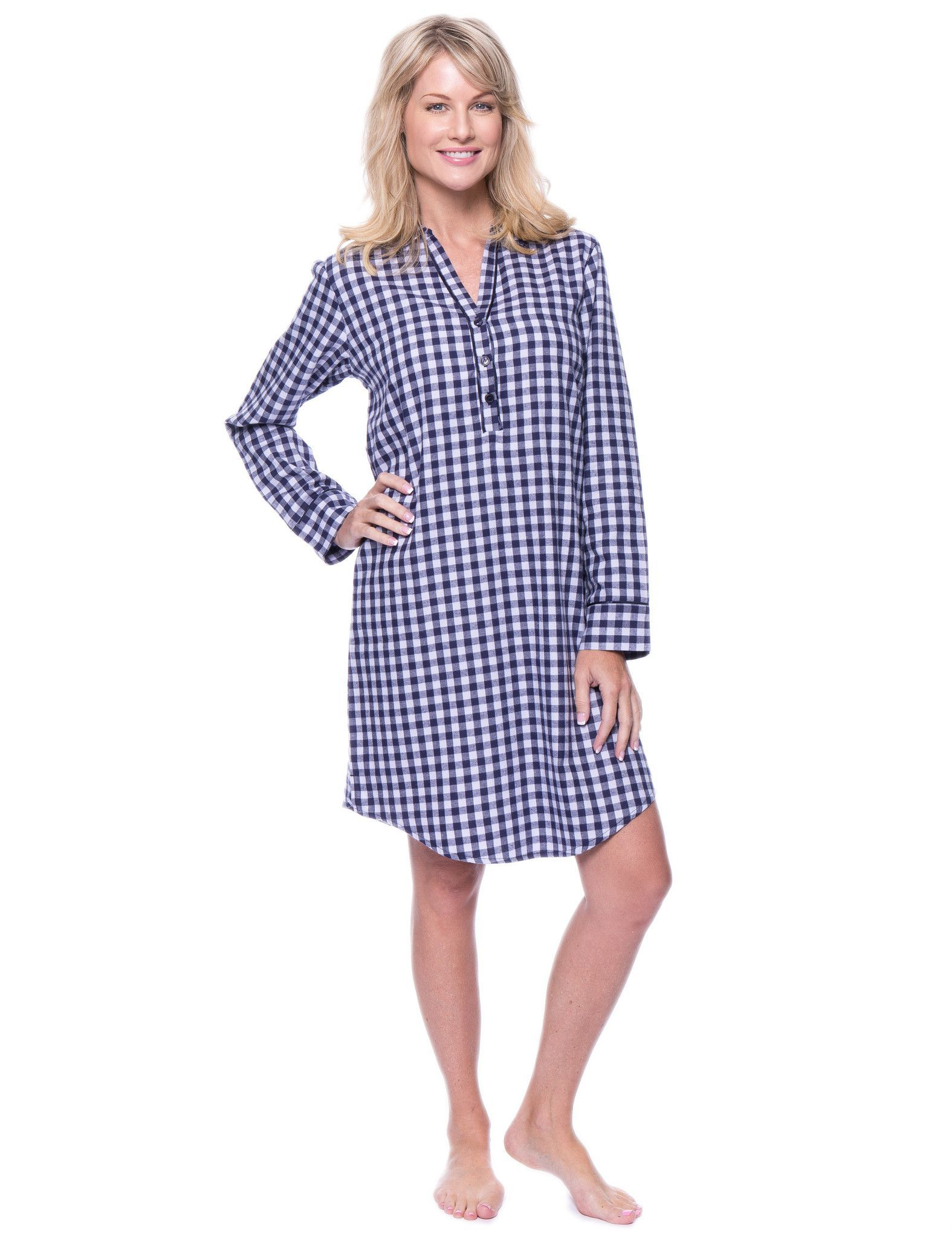 479aefc3bb Noble Mount Womens Premium 100% Cotton Flannel Long Sleeve Sleep Shirt