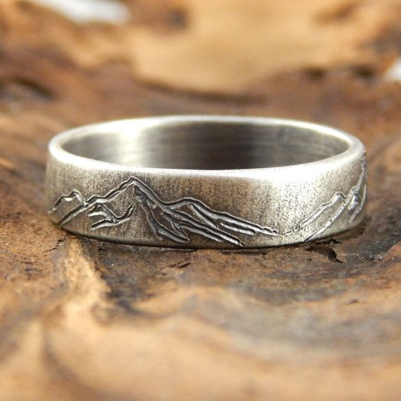 High Detail Sterling Silver Engagement Ring Mountain Scenery for Man  Woman Custom Made Pomegranate Wedding Rings engraved initials.