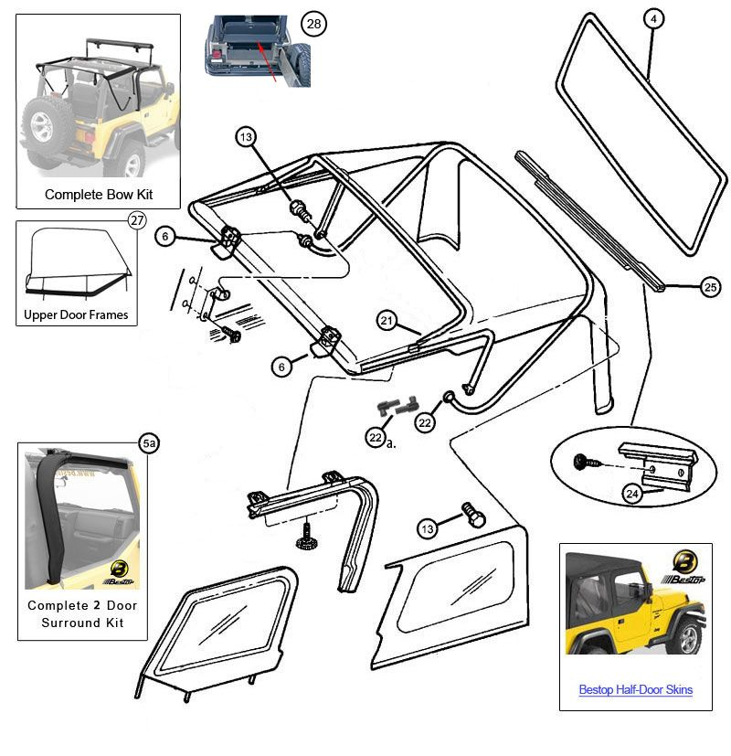 Interactive Diagram Mopar Soft Top Hardware For Jeep Wrangler