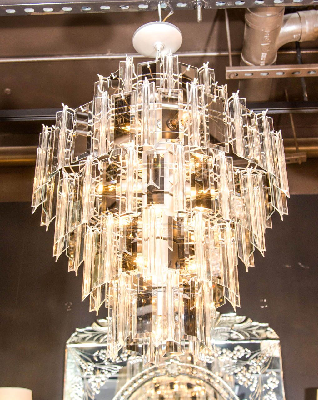 Venini Style Multi Tier Chandelier With Smoked Mirrored Hand